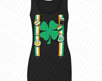Irish Tuxedo Ireland Flag with Irish Colored Shield Women's Tank Top USA Flag 4th of July Tanks St Patrick's Day