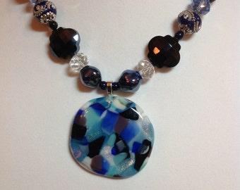 Blue Mosaic Fused Glass Pendant
