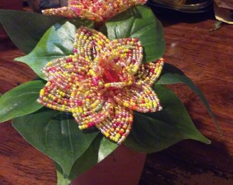 Handbeaded wild flower potted plant