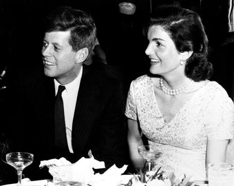 Senator John F. Kennedy and Wife Jackie at New York City's Stork Club in 1955 - 5X7, 8X10 or 11X14 Photo (AA-167)