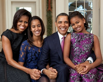 President Barack Obama & First Lady Michelle with Daughters - 8X10 or 11X14 Photo (EE-070)