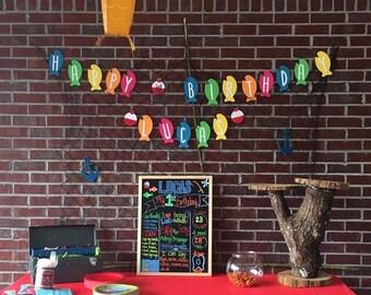 Fishing theme happy birthday banner