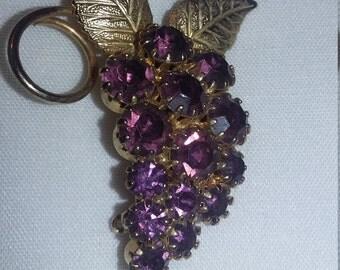 Vintage Amethyst Rhinestone Grape Cluster Brooch