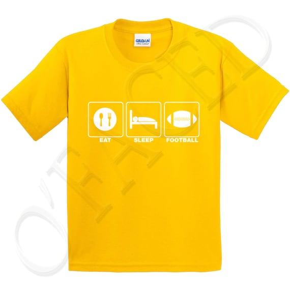 Eat sleep football kids t shirt cool sports design tee for for Cool football t shirts