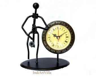Handmade Creative Iron musician Table Desk Clock Handcrafted Collection home Decor
