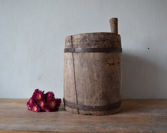Antique wooden bucket / Rustic bucket /  Antique buckets / Vintag wood bucket / Primitives country decor / Rare antique /  Home decor