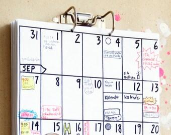 wall calendar Sep 2016 - Feb 2018