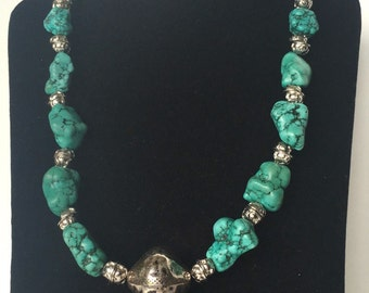 Necklace handmade silver like beads turquoise like beads casual