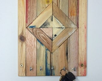 Key hook made from reclaimed wood