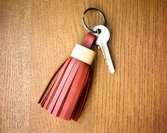 Leather keychain/ Leather tassel keychain/ Tassel keychain