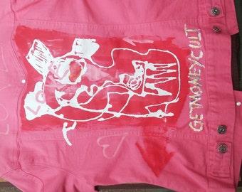 Pink Jean jacket (love/Get Money Cult)(L)