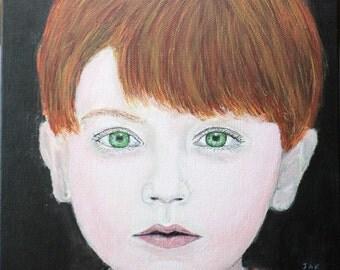 "Ethan by J. Kaiden 9 x 12"" Acrylic Original Acrylic Painting on Canvas Fine Art Portrait Boy Child Redhead Red Hair Green Eyes"
