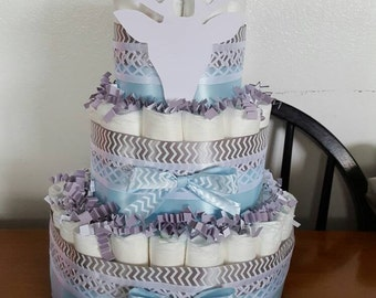 Three tiered Blue/gray themed diaper cake