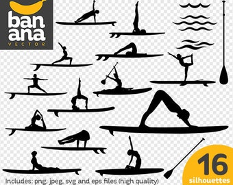 SALE Paddle Board Yoga Silhouettes png jpg svg eps files high resolution BV-SP-0058