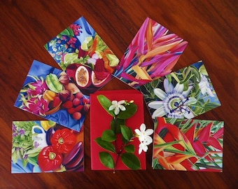 Artist Greeting Card Set - Tropical fruit, flowers and still life's