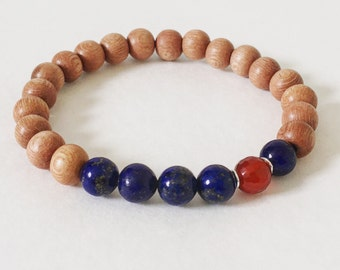 8mm Rosewood Beaded Bracelet featuring Lapis Lazuli and Carnelian Stones