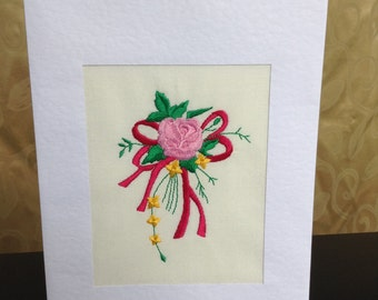 Birthday card, thank you or a get well card with pretty bouquet embroidery design on cream fabric