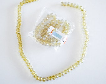 """1 Strand 15"""" Golden Yellow Faceted Glass Crystal Rondelle Beads 8mm"""