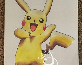 "8""x10"" Watercolor Pikachu Print"