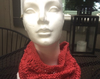 Airy Open Stitch Cowl in Coral