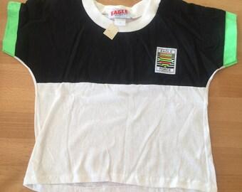 Vintage Kids 1980s 1990s Eagle Force Tshirt. Kids size 8. Neon, colorblock, retro.