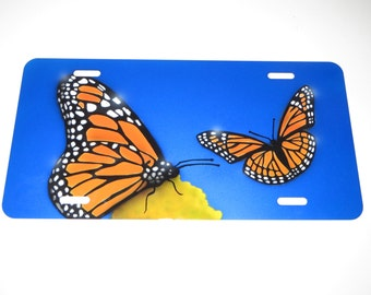 Monarch Butterflies Custom Airbrush License Plate
