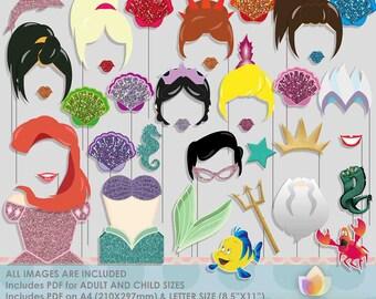 Princess Mermaid & Sisters Photo Booth Props