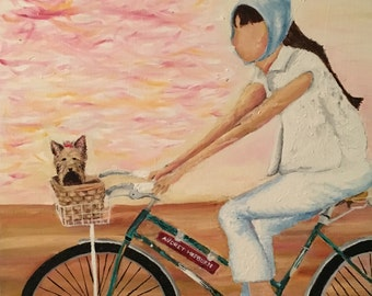Original Oil Painting of Audrey Hepburn on Bike