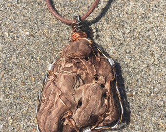 Handmade wire wrapped driftwood necklace