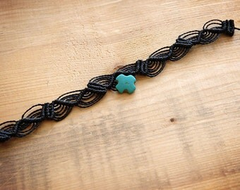 Black macrame anklets with turquoise cross