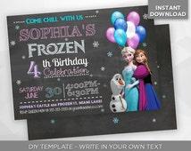SALE - 80% OFF Frozen Invitation, Disney Frozen, Birthday Party Invite, Elsa, Anna, Olaf, Editable Printable Digital PDF - Instant Download