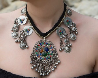 Necklace Tribal style , Ethnic Necklace , Coloured necklace , Boho Necklace , fashion necklace