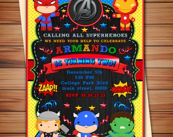 Supe Heroes party invitation, Cute Avengers party digital chalkboard invitation, Superheroes digital invitation, Thank you card free! N3