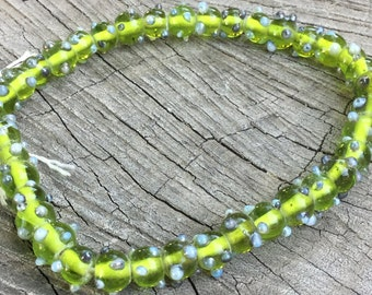 Green and Grey Lampwork Beads - 76 Pieces - #198