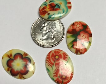 Vintage German Floral Cabochons Artisan Made - 2 Pieces - #238