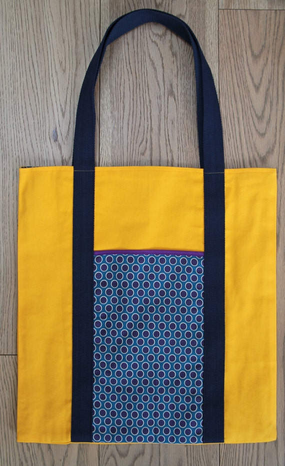 Dotty morning. Yellow canvas and blue and purple dot fabric tote bag.