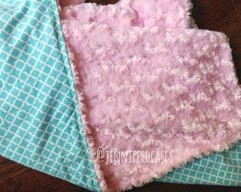 Pink Rose Minky Blanket
