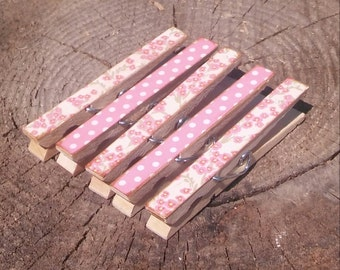 Pink Flowers Dots Clothespin Magnets Clips Set of 5