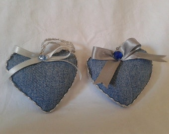 Decorative hearts in jeans