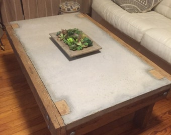 Cypress and concrete coffee table