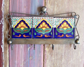 Small keys or kitchen towel hanger metal and ceramic tile crafted by hand it has 4 hooks