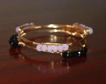 Small Faceted Bead Layering Bangle