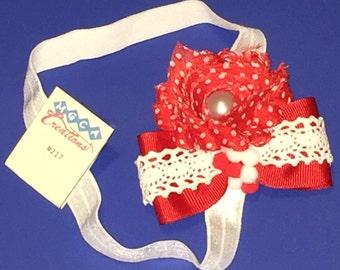 Red Polka Dot Rose Headband #217