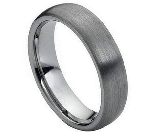 FLASH SALE * Tungsten Carbide Ring Brushed Domed Classic Matte finish 6mm Wedding Band