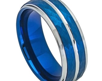 Men's Tungsten Carbide Two-tone Blue IP plated Hammered Finish High Polished Stepped/ Beveled Edge 8mm Wedding Band | Promise Ring