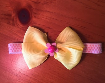 Infant bow headband- yellow and pink