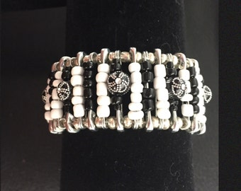 Black, white and silver safety pin bracelet
