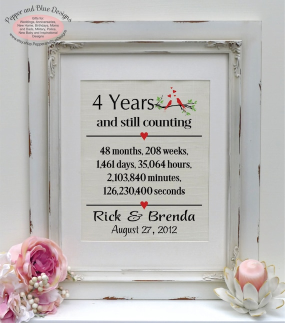 Traditional Gift For 4th Wedding Anniversary: 4th Anniversary Linen Print 4 Year Linen By