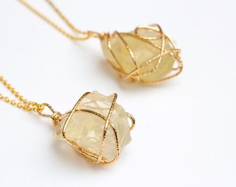 Arhi Yellow Cluster Crystal Pendant