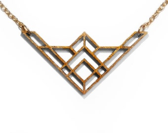 Gold Geometric Laser Cut Wooden Necklace : #8